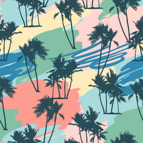 Nahtloses tropisches Muster mit Palmen und künstlerischem Hintergrund. vektor