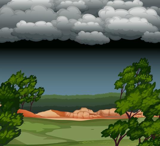 Molnigt natt naturlandskap vektor
