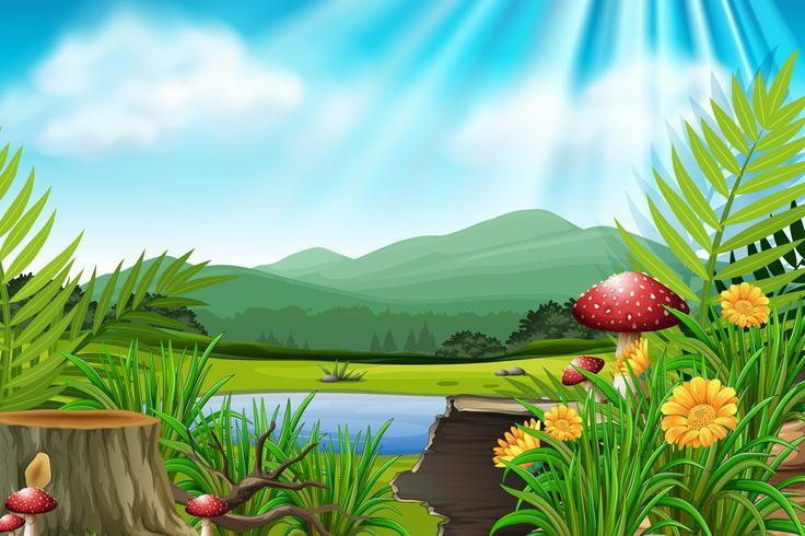 Hintergrundszene mit Berg und See vektor