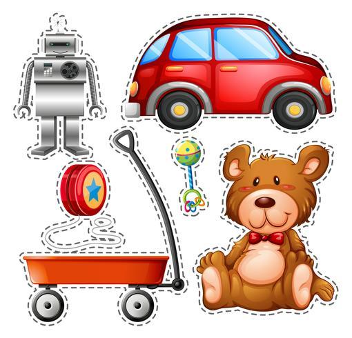 Klistermärke uppsättning olika leksaker vektor