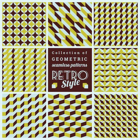 Set av vektor sömlösa geometriska mönster. Vintage texturer