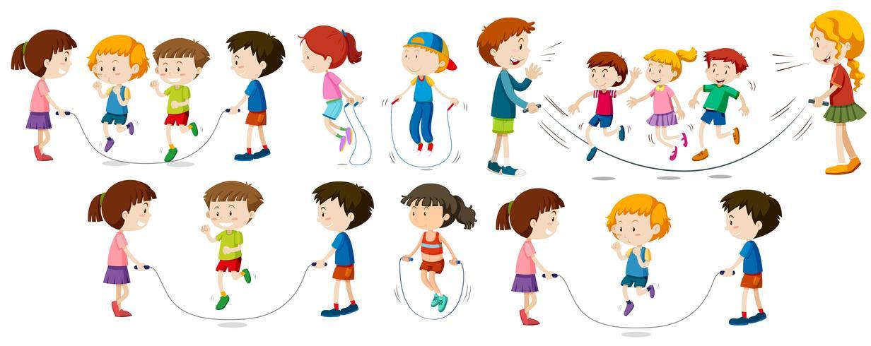 Barn gör hopprep vektor