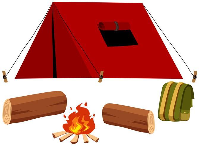 Camping mit Zelt und Feuer vektor