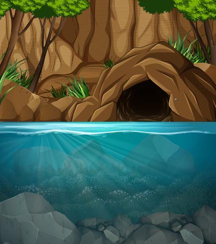 Undervattensgrotta landskap scen vektor