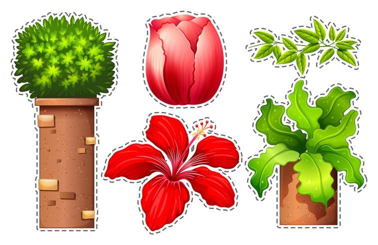 Klistermärke med blommor och buske vektor