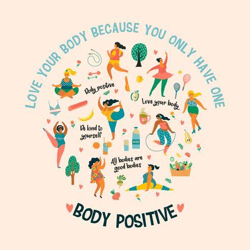 Kroppspositiv. Lyckliga plusstorlekflickor och aktiv hälsosam livsstil. vektor