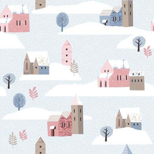 Jul och gott nytt år sömlöst mönster med vinterlandskap. vektor
