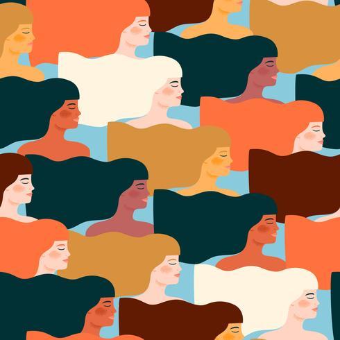 Internationaler Frauentag. Vektornahtloses Muster mit verschiedenen Frauen. vektor