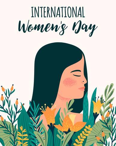 Internationaler Frauentag. Vektorschablone mit metis Frau und Blumen vektor