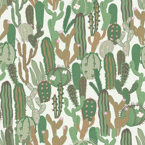 Vektornahtloses Muster mit Kaktus. Wiederholte Textur mit grünen Kakteen. vektor
