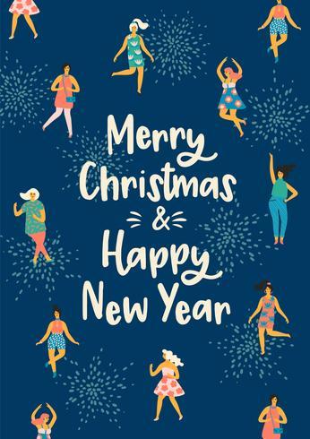 Weihnachts- und guten Rutsch ins Neue Jahr-Illustration mit tanzenden Frauen. vektor