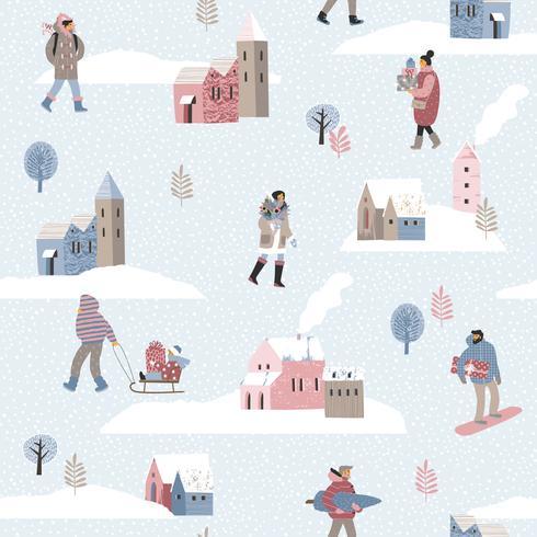 Jul och Gott Nytt År sömlöst mönster med människor. vektor