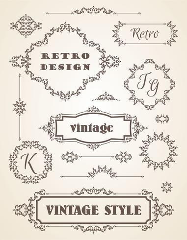 Satz von Retro Vintage Abzeichen, Frames, Etiketten und Grenzen. vektor