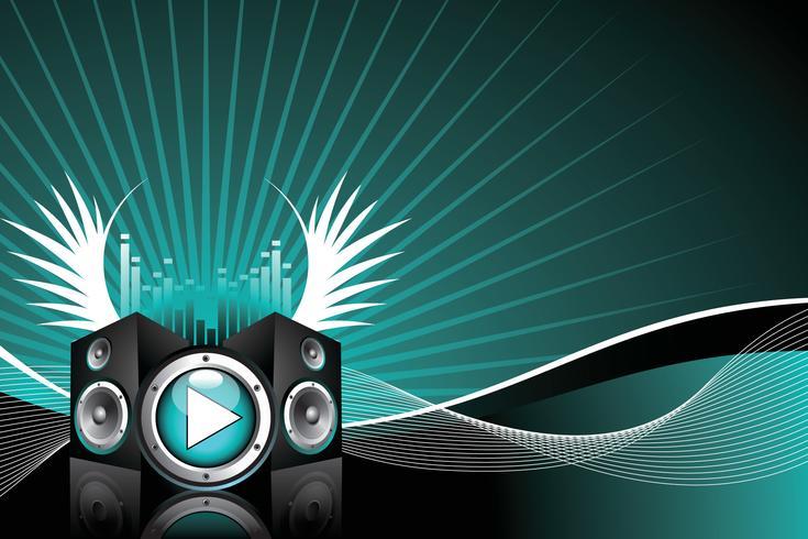 Vektorillustration für musikalisches Thema mit Lautsprechern und Flügel vektor