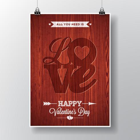 Vector Fliegerillustration auf einem Valentinstagthema mit typografischem Design der Liebe