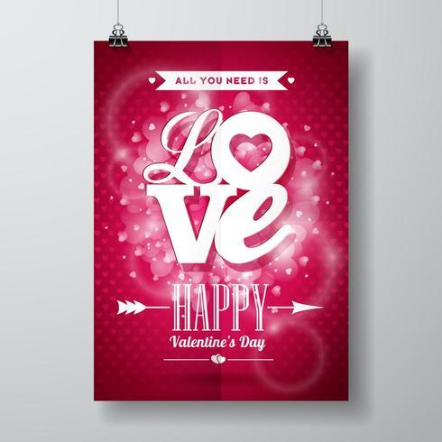 Valentinsgruß-Tagesillustration mit Liebestypographiedesign auf glänzendem Hintergrund. vektor
