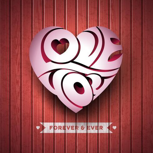 Valentinsgruß-Tagesillustration mit Typ 3d Liebe-Sie Typografieentwurf auf hölzernem Hintergrund. vektor