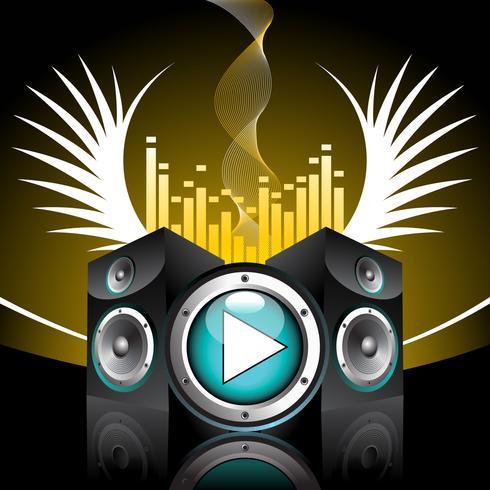 musikaliskt tema med högtalare och vinge vektor