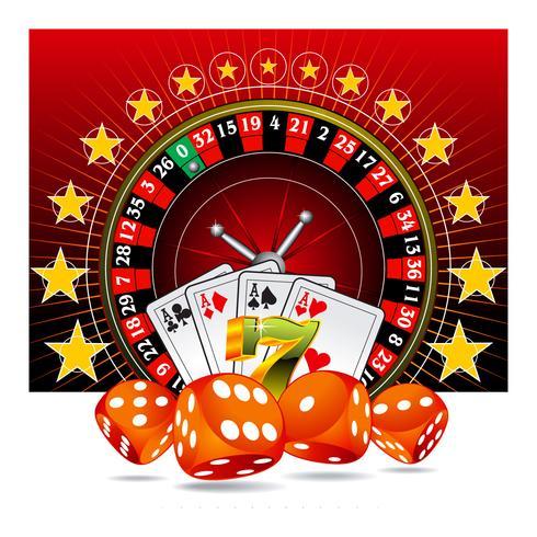 Tärningar, spelkort och roulettehjul. vektor