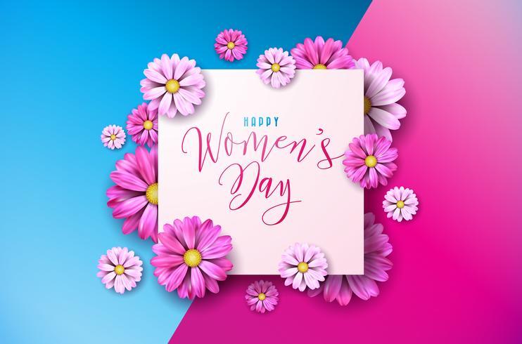 Lycklig kvinna dag blom- hälsning Cwomen dag hälsning Cardard design. Internationella kvinnliga semesterillustration med blomma och typografi Brevdesign vektor