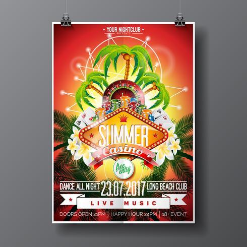 Party Flyer Design zu einem Casino Thema mit Roulette-Rad und Spielkarten vektor