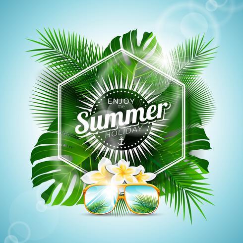 Genießen Sie die typografische Illustration der Sommerferien mit tropischen Pflanzen und Blumen vektor