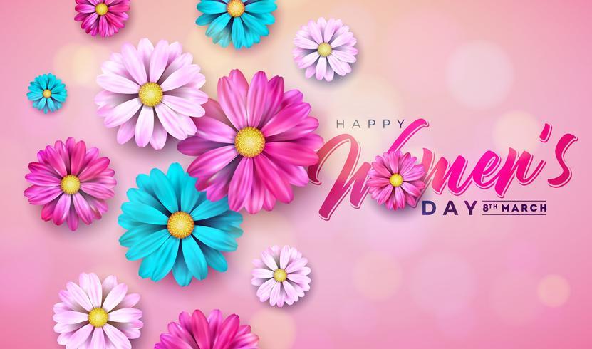 8 mars. Glad kvinna dag blomning hälsningskort vektor