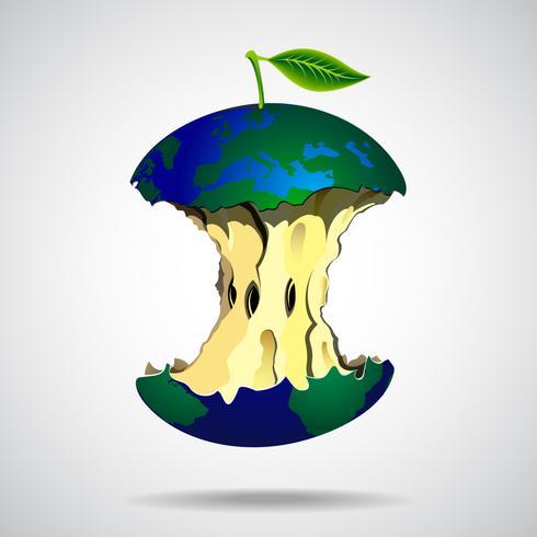 Världs illustration i äpple stil vektor