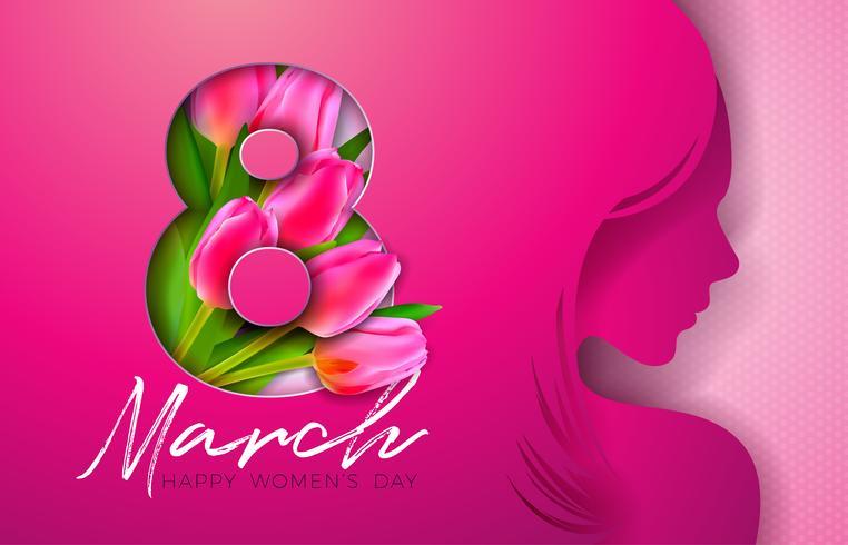 8 mars. Kvinnors daghälsningskortdesign med ung kvinna Silhouette vektor