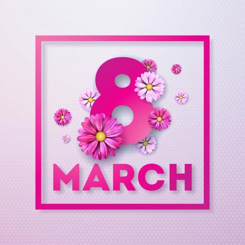 8 mars. Glad kvinna dag blomning hälsningskort. Internationella semesterillustration med blommönster på rosa bakgrund. vektor
