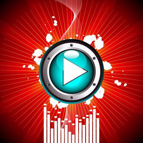 vektor illustration för musikaliskt tema med play-knappen