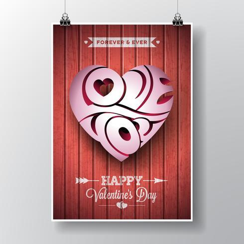 Alla hjärtans dag tema med 3d Kärlek Du typografisk hjärta design vektor