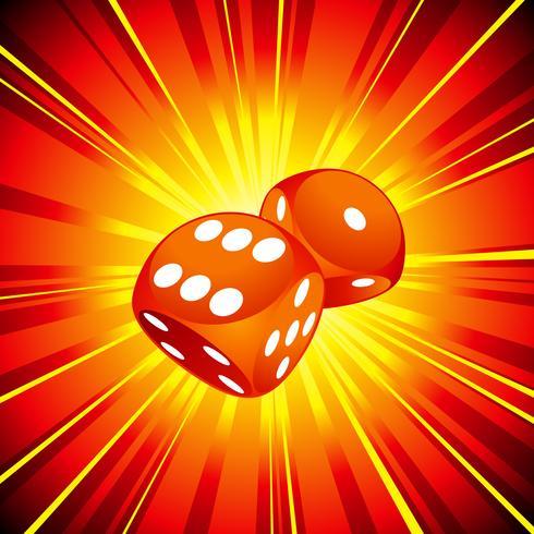 Spielende Abbildung mit zwei roten Würfeln auf glänzendem Hintergrund. vektor