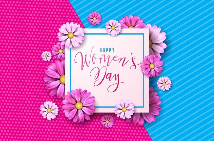 Lycklig kvinna dag blom- hälsningskortdesign vektor