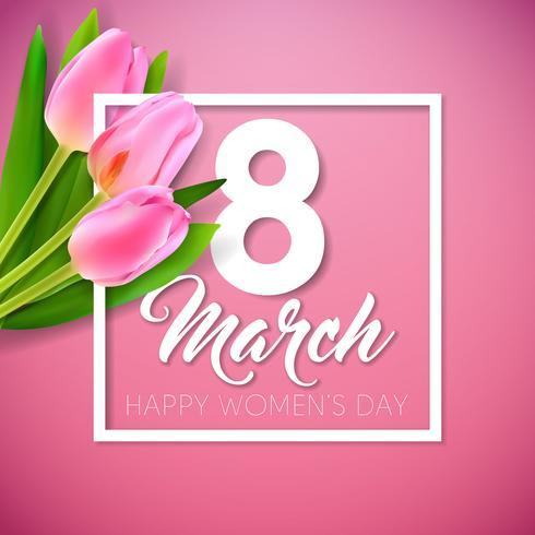 Lycklig kvinnodag illustration med tulpanbukett och 8 mars typografi brev vektor