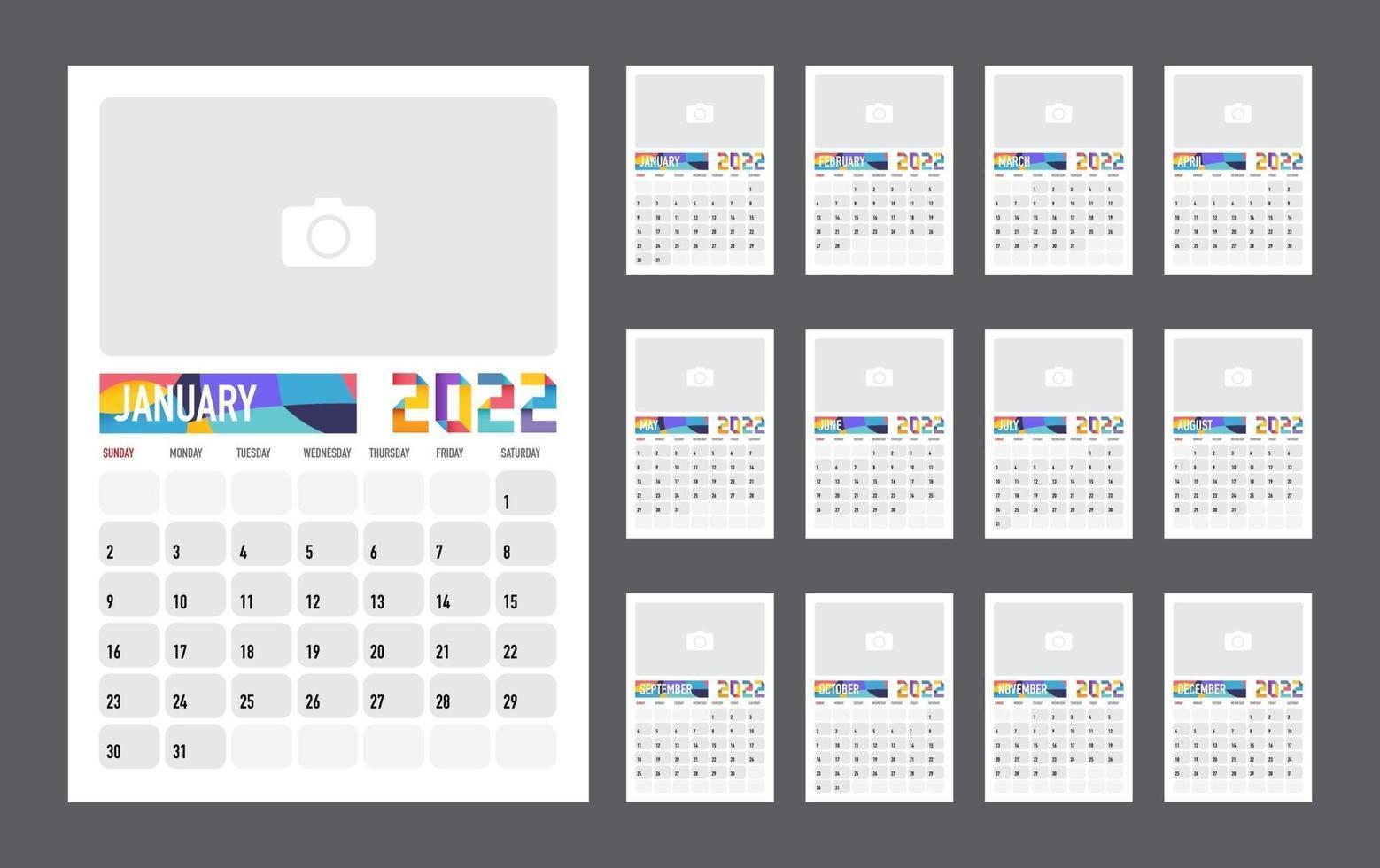 kalender bunter planer für 2022. die woche beginnt am sonntag. Vektor