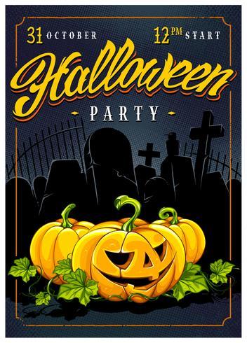 Halloween parti affischdesign vektor