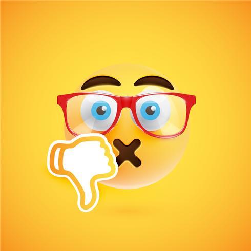 Emoticon med tummen ner, vektor illustration