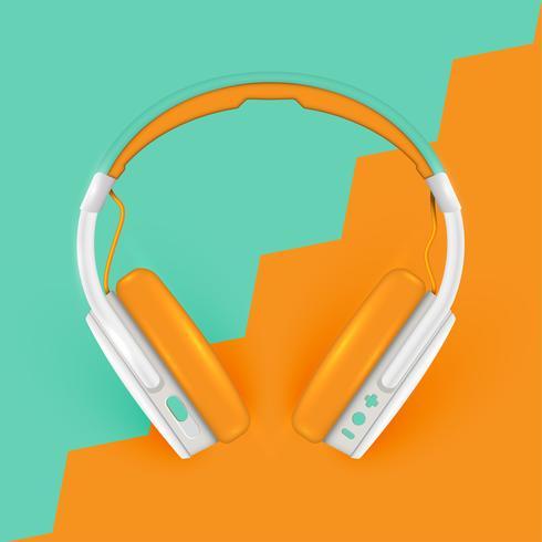 Realistische Kopfhörer, mit Drähten auf einem bunten Hintergrund, Vektorillustration vektor