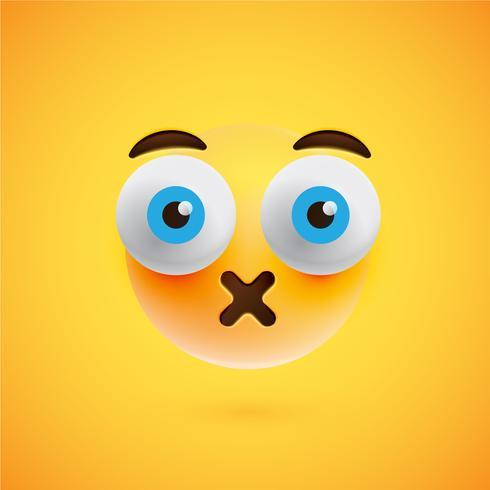 Realistischer gelber Emoticon vor einem gelben Hintergrund, Vektorillustration vektor