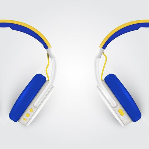 Realistiska hörlurar, med ledningar på en färgstark bakgrund, vektor illustration
