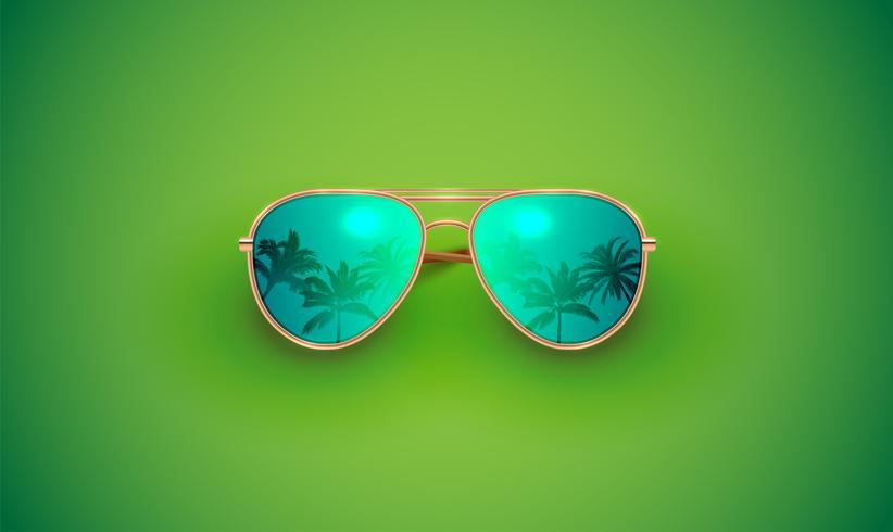 Realistische Vektorsonnenbrille auf einem bunten Hintergrund, Vektorillustration vektor