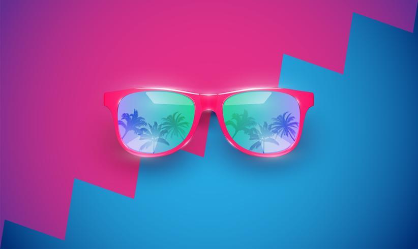 Realistiska vektor solglasögon på en färgstark bakgrund, vektor illustration