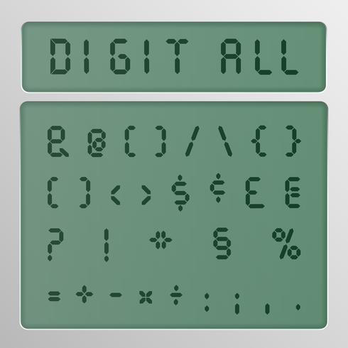 Digital-Zeichensatz von einem Schriftbild auf einem Bildschirm, Vektorillustration vektor