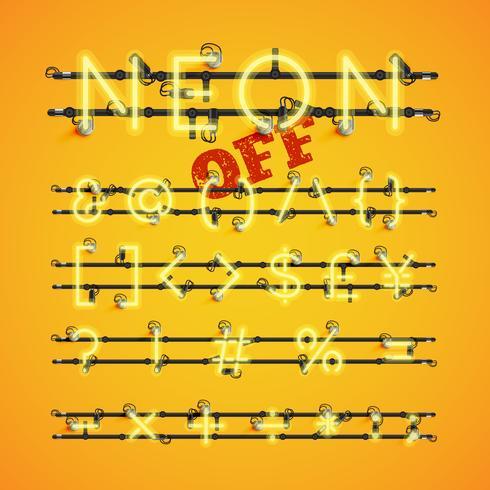 Gelber realistischer Neonzeichensatz mit Drähten und Konsole, Vektorillustration vektor