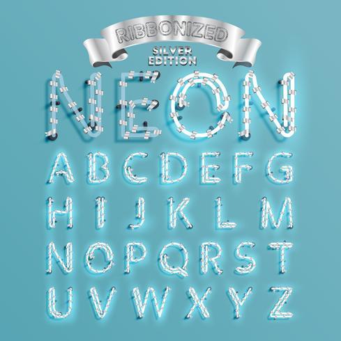 Neon typsnitt fontset med jul dekoration tall, vektor illustration
