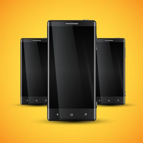 Tre mobiltelefoner framför en gul bakgrund, realistisk vektor illustration