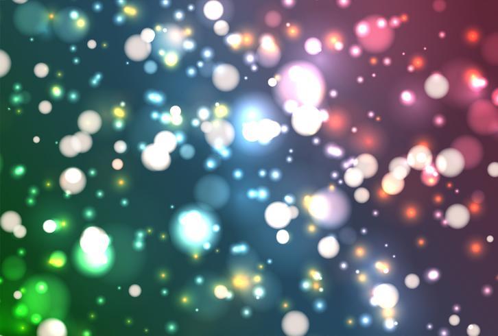 Färgrik realistisk glitter lyser med bokeh, vektor illustration