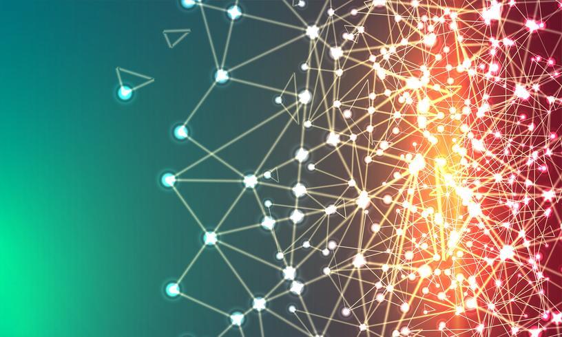 Abstrakter polygonaler bunter Hintergrund mit verbundenen Punkten und Linien, Verbindungsstruktur, futuristischer Hudhintergrund, Bild der hohen Qualität mit unscharfen Teilen vektor