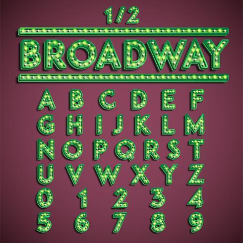 """Broadway"" fontset mit Lampen, Vektorillustration vektor"